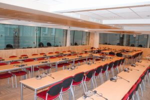 ETF Meeting Room with tables and interpretation booths